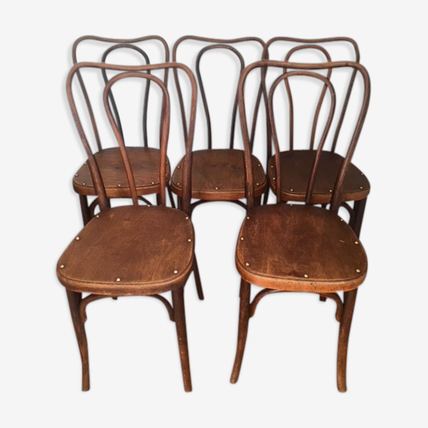 5 chaises bistrot J&J Kohn avec étiquette et estampille circa 1900