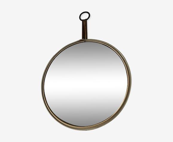 Miroir oeil de sorcière rose vintage 1960 24x24cm