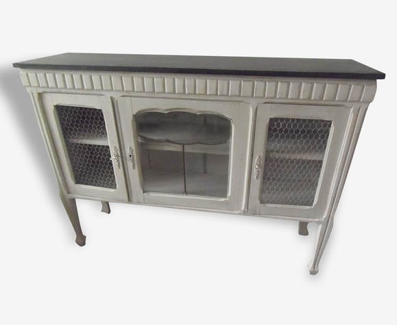 meuble tv buffet console grillage patin gris perle blanc poudr gris ardoise bois mat riau. Black Bedroom Furniture Sets. Home Design Ideas