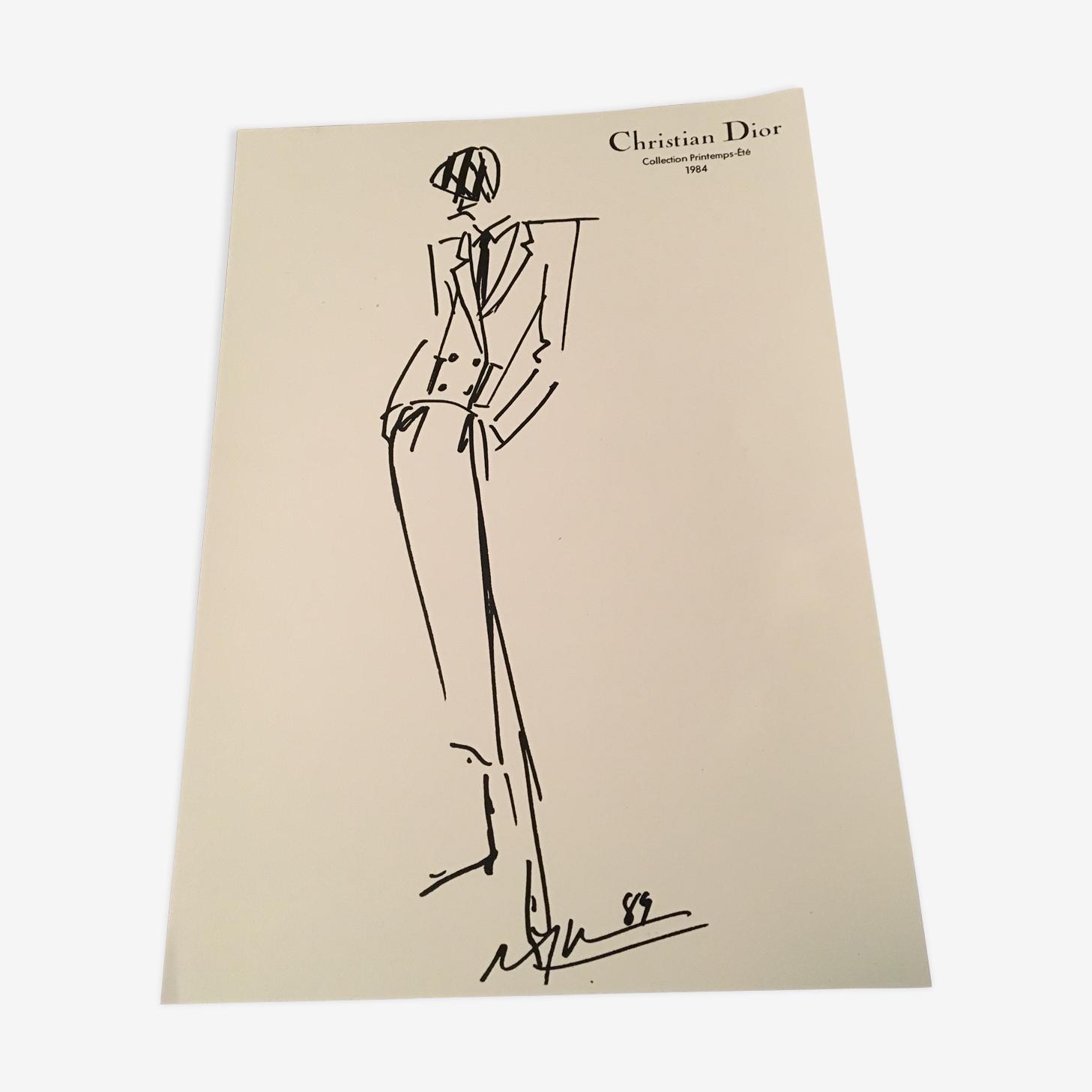 Illustration de mode et photographie originale vintage de presse Christian Dior  des années 80