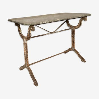 Rare 19th marble and cast iron bistro table