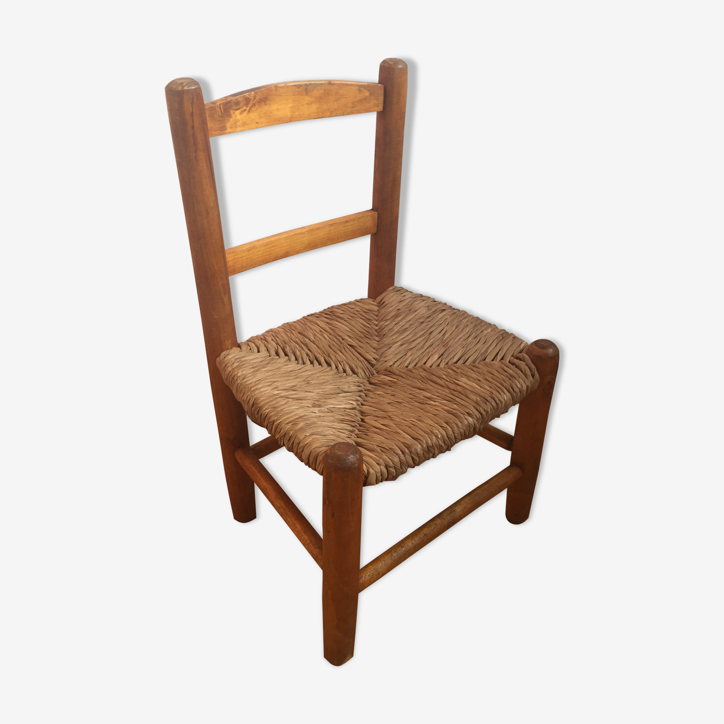 Chaise bois et paille enfant