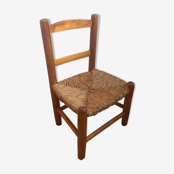 Children's wood and straw chair