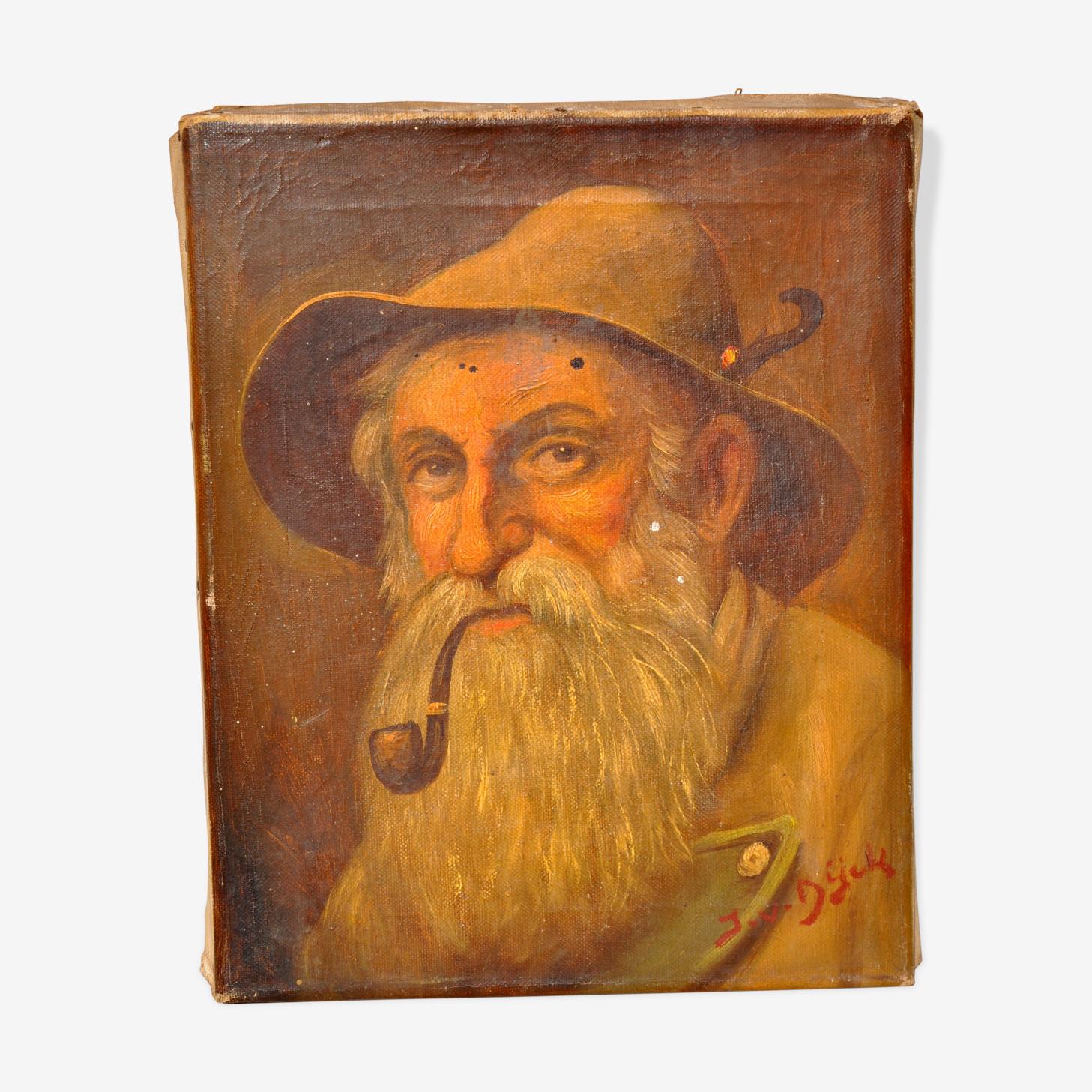 Portrait old old man smoking pipe