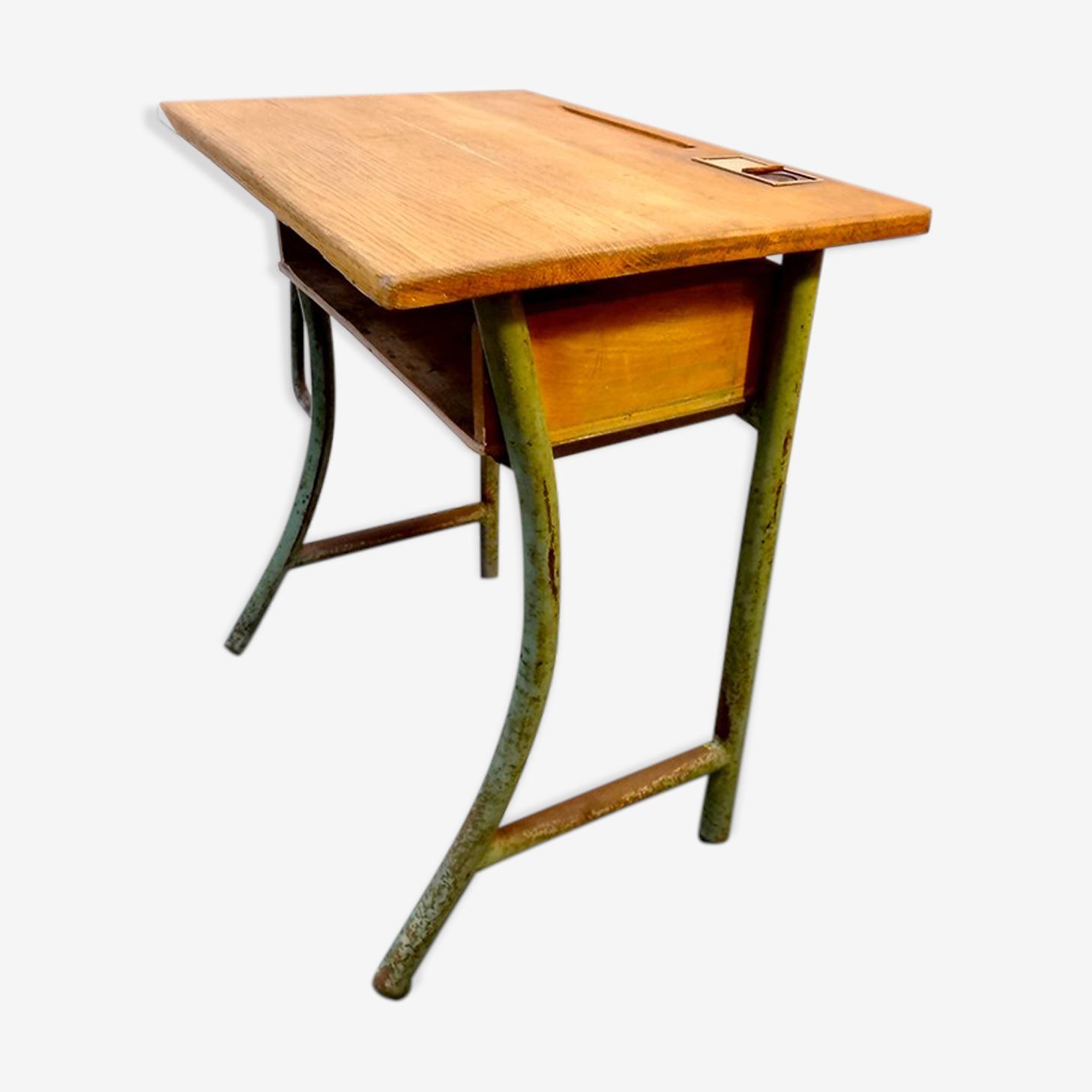 Bureau pupitre des écoles acier et bois ancien