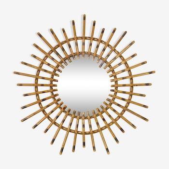56 cm Wooden sun mirror bamboo effect