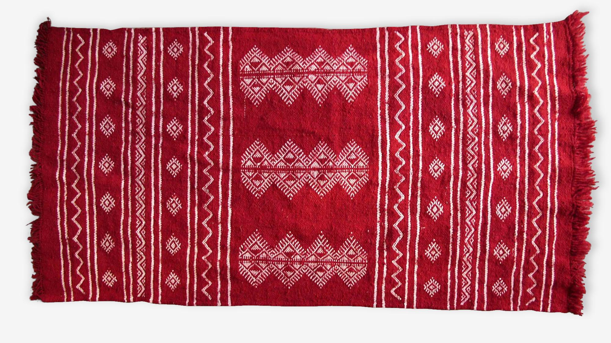 Tapis kilim berbère rouge, 100x60