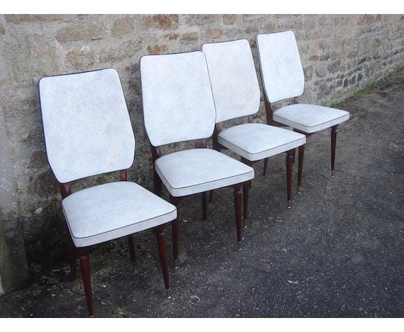 4 room 1960 white skai & wood chairs