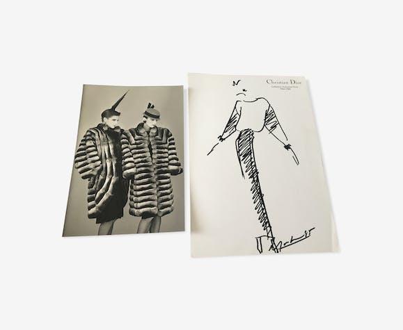Esquisse de mode & photographie de presse Christian Dior collection 1984- 1985