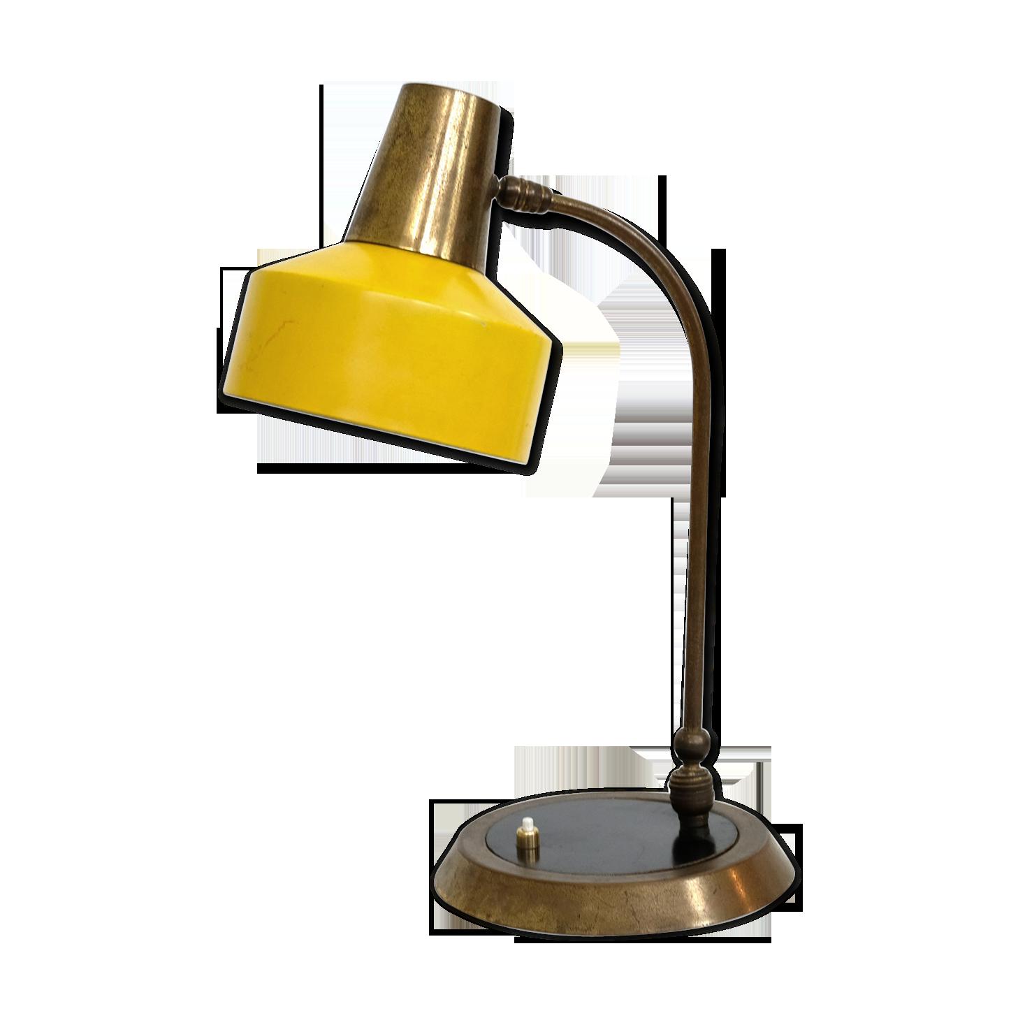 Grande lampe de bureau jaune et or des années métal