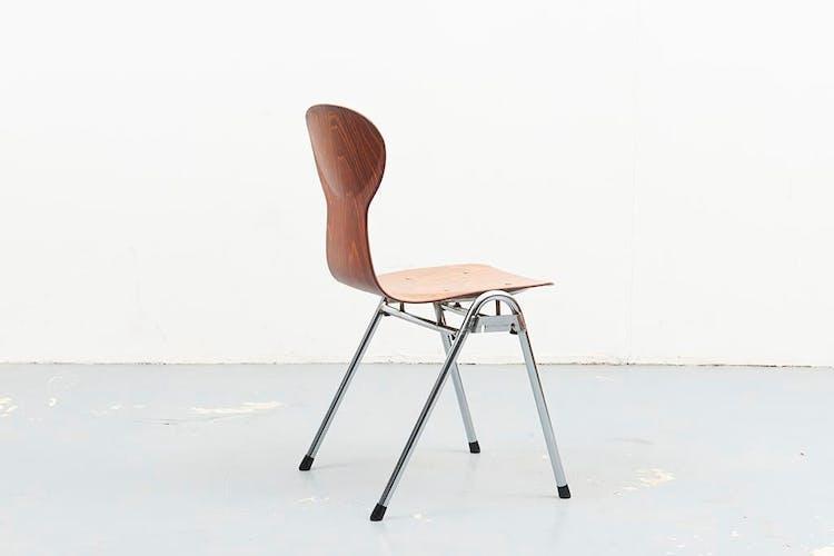Chaise Eromes en chêne et chrome