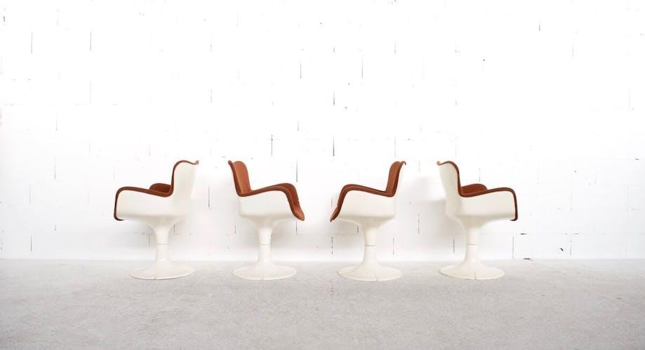 """Suite de 4 fauteuils """"trèfle"""" Christian Adam années 60' airborne"""