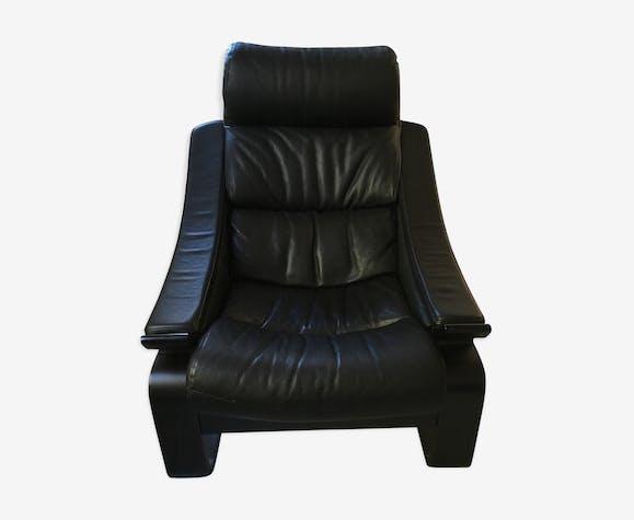 fauteuil kroken re-édition roche bobois - cuir - noir - design - znbtjlq