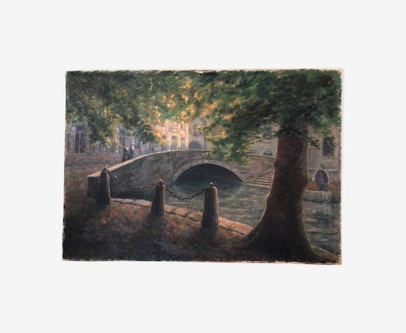 """Huile sur toile, """" Vue de Bruges """" du peintre L. Lavoix, fin XIXème"""