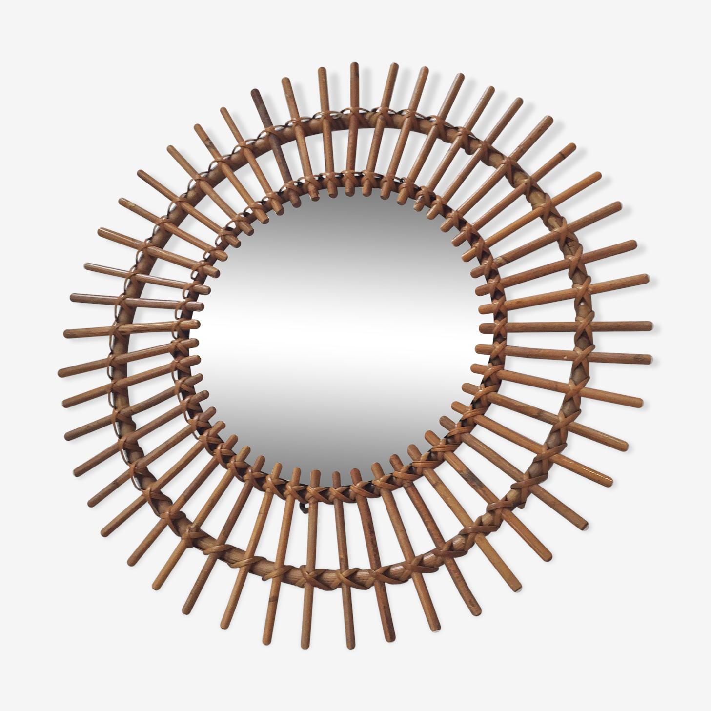 Miroir rotin vintage soleil 57x57cm