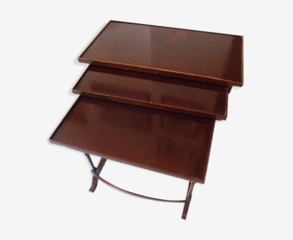 Ensemble de 3 tables gigogne en bois