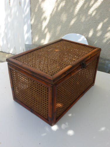 Trunk, bamboo canning and vintage wicker