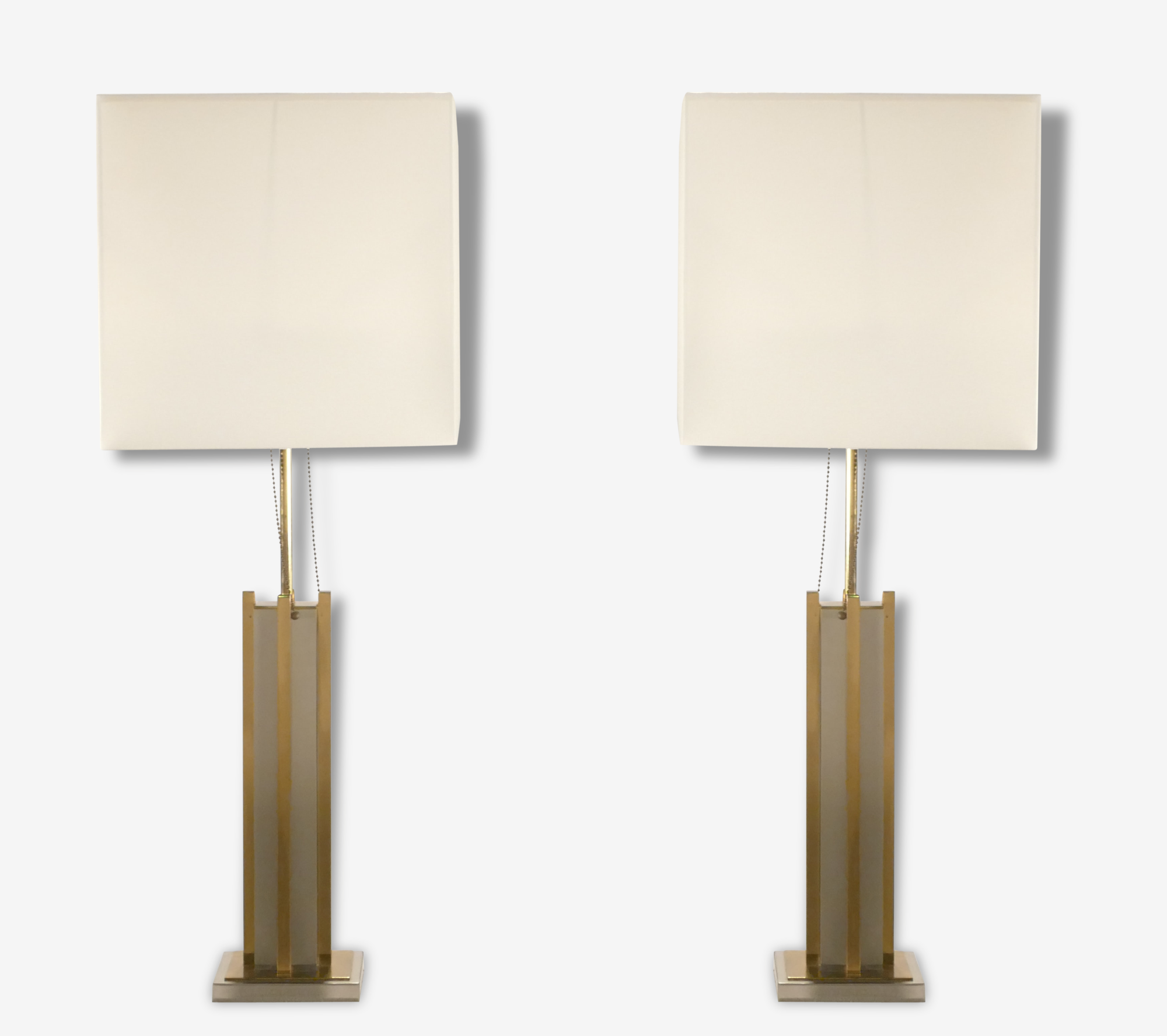 Paire de lampes laiton et chrome Gaetano Sciolari années 70