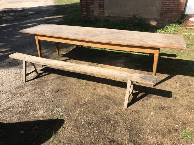Farm table and two benches