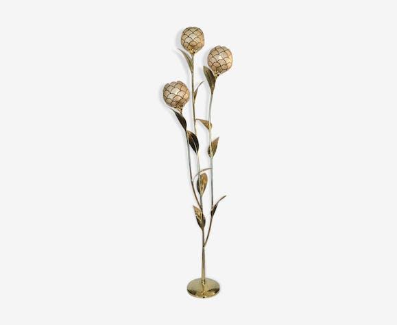 Lampadaire floral laiton et nacre de capiz 1970
