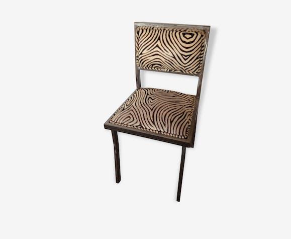 Chaise acier et peau design 1990