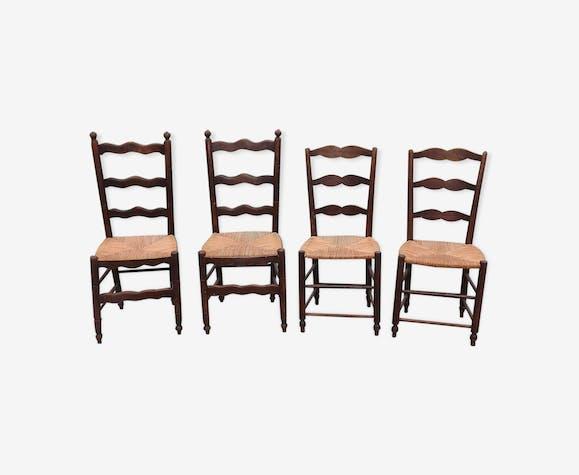 4 chaises paillées anciennes