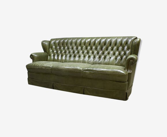 Green vintage leather chesterfield sofa green room sofa leather ...