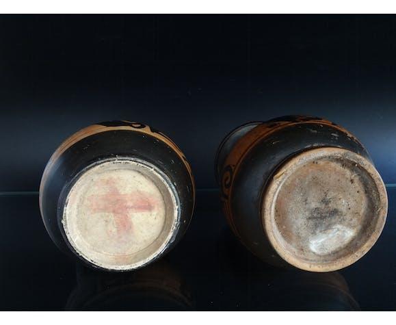Deux vases profil de dame de la mode figure rouge IVème av.JC Art Grec Italie