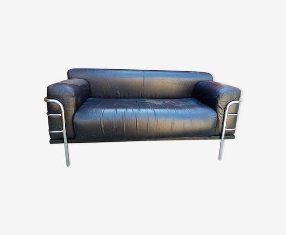 Canapé cuir et chrome vintage