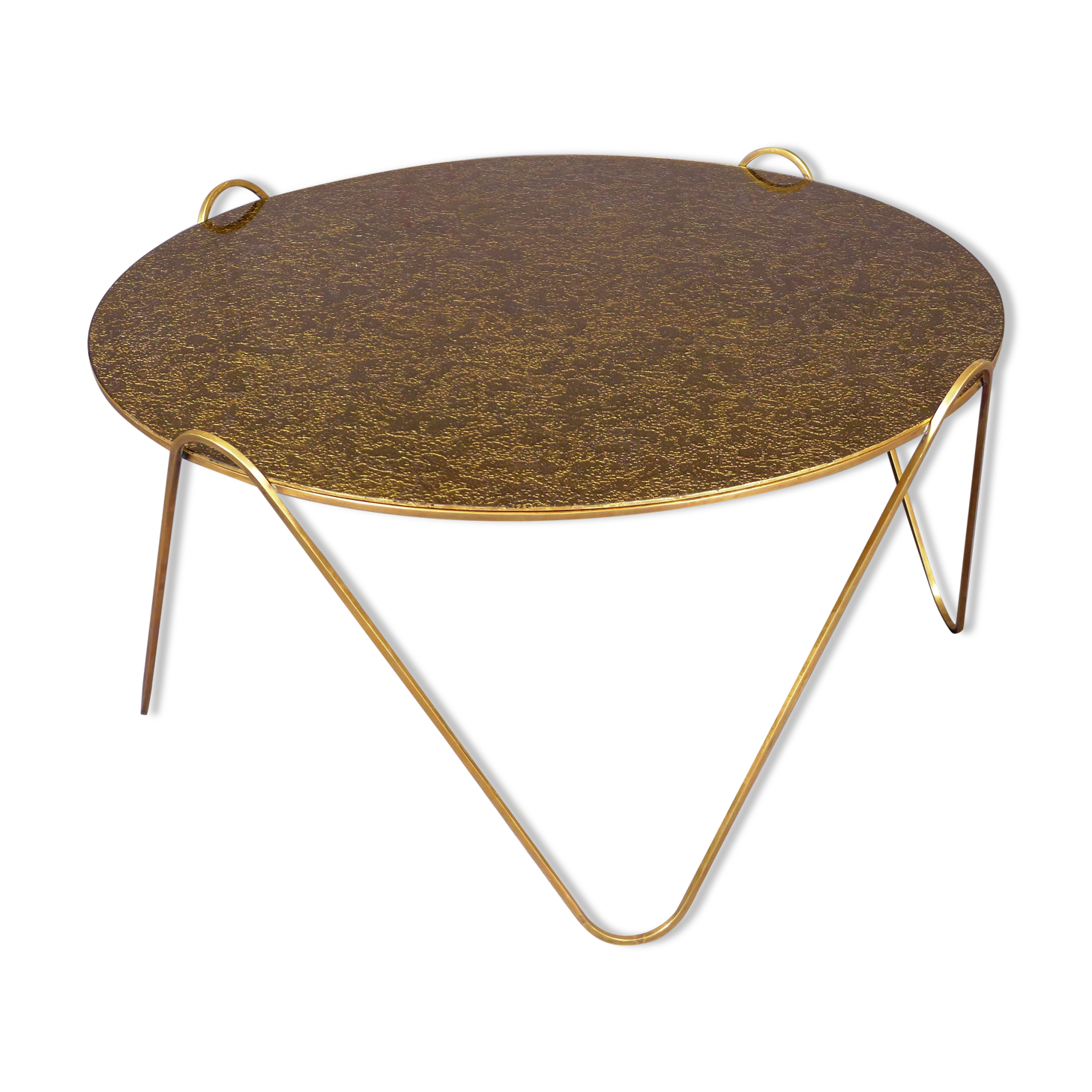 Table Basse Dore Table Basse Dor Duoccasion Troccom Table  # Table Basse Ronde Hippie