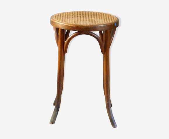 Tabouret bistrot en bois tourné, assise cannée