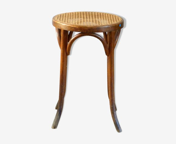Wooden bistro stool turned, cannea seat