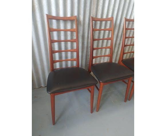 Lot de chaises scandinaves en teck modele Lis par  Niels Koefoeds