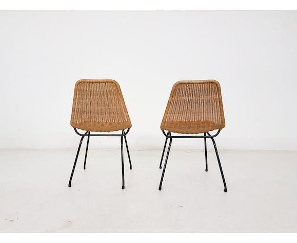 Ensemble de 2 chaises en rotin et en métal Dirk van Sliedregt, Pays-Bas des années 1960