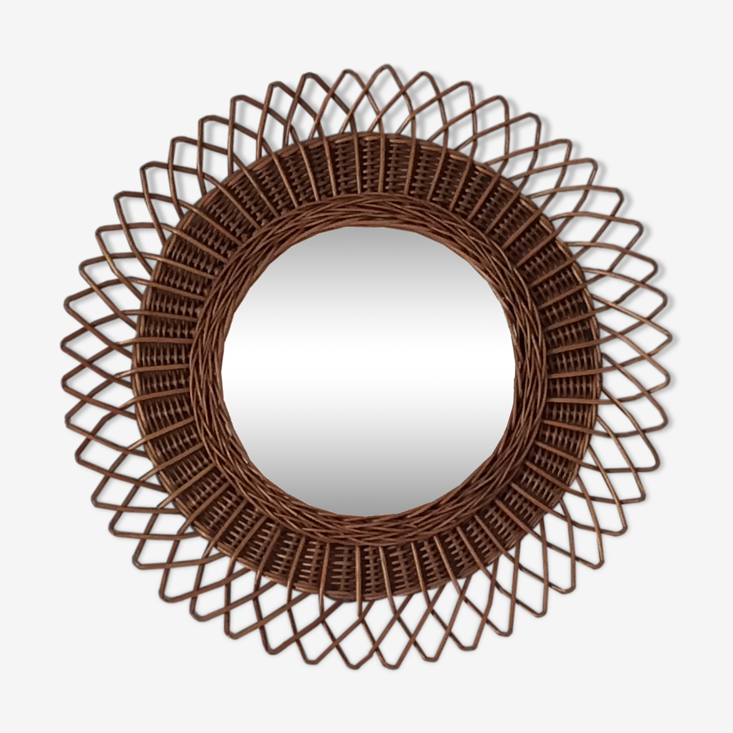 Large mirror Sun rattan of the 1960s
