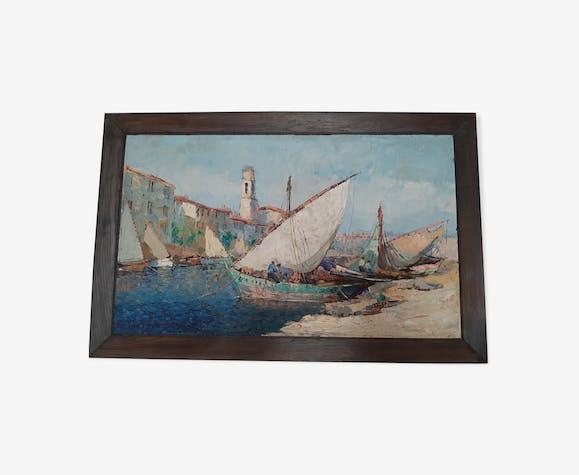 """Tableau Fernand van den Bussche - huile sur toile """" Port de Martigues"""""""