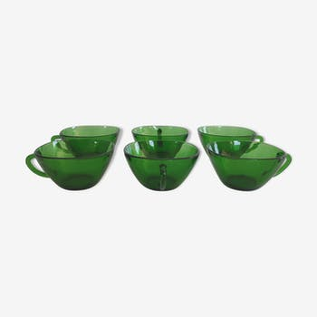 Lot of 6 vintage coffee cups in Vereco green glass