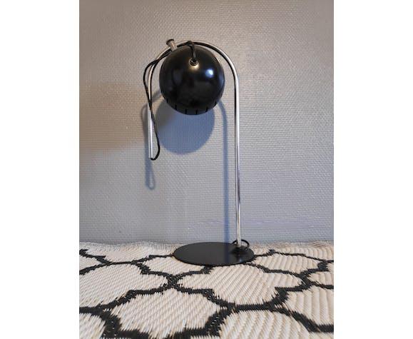 Adjustable black and chrome metal eyeball lamp