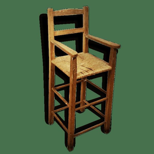 chaise haute paill e pour enfant bois mat riau marron vintage 25482. Black Bedroom Furniture Sets. Home Design Ideas