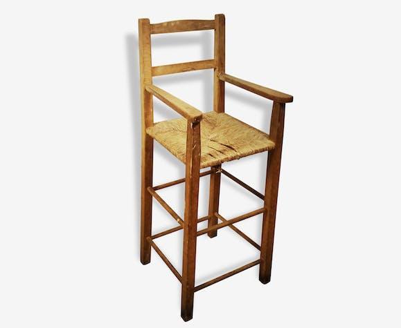 chaise haute paill e pour enfant bois mat riau. Black Bedroom Furniture Sets. Home Design Ideas