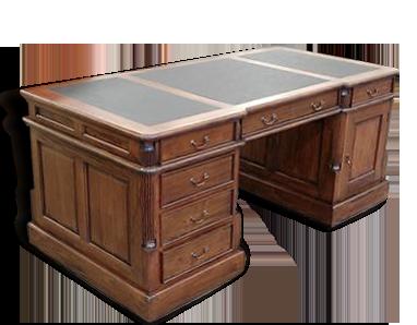 Bureau de notaire style anglais bois matériau marron