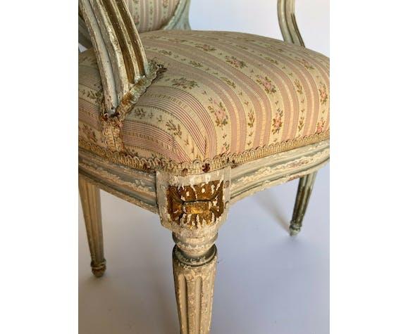 Fauteuil cabriolet de style Louis XVI XVIIIe
