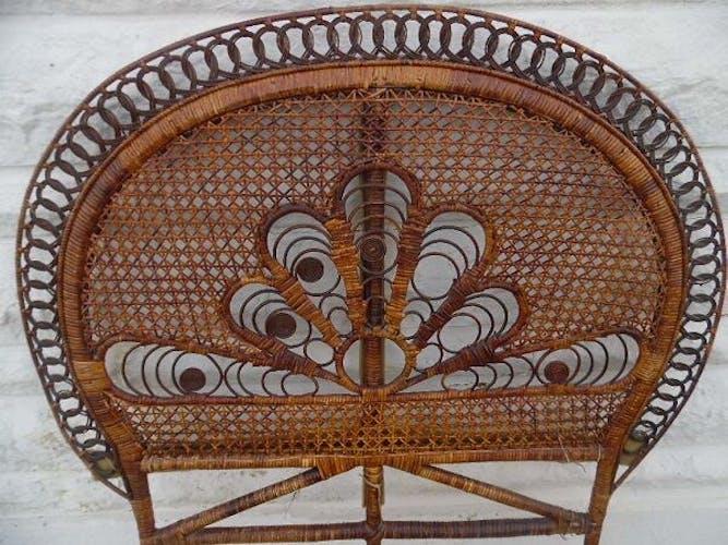 Tete de lit Peacock en rotin