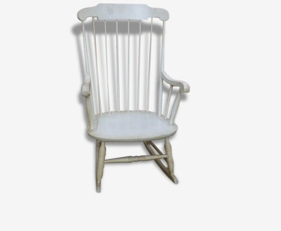 rocking chair bois laqu blanc beige a barreaux vintage. Black Bedroom Furniture Sets. Home Design Ideas