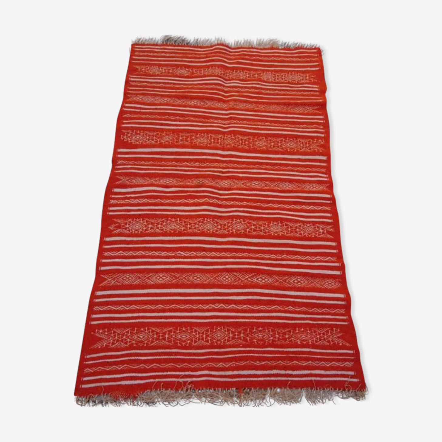 Tapis orange et blanc, 185x110cm