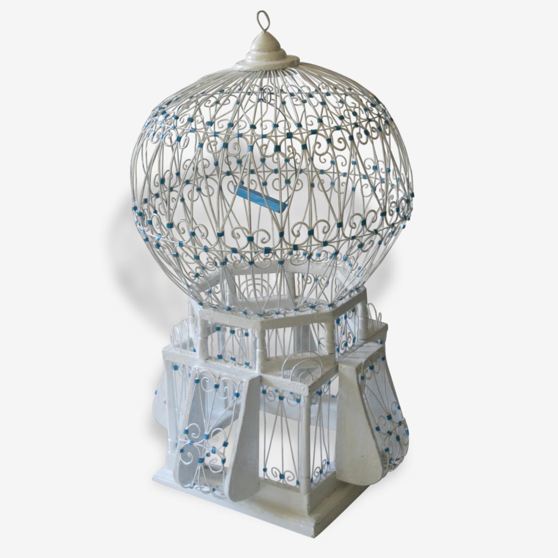 Cage a oiseaux en bois et metal