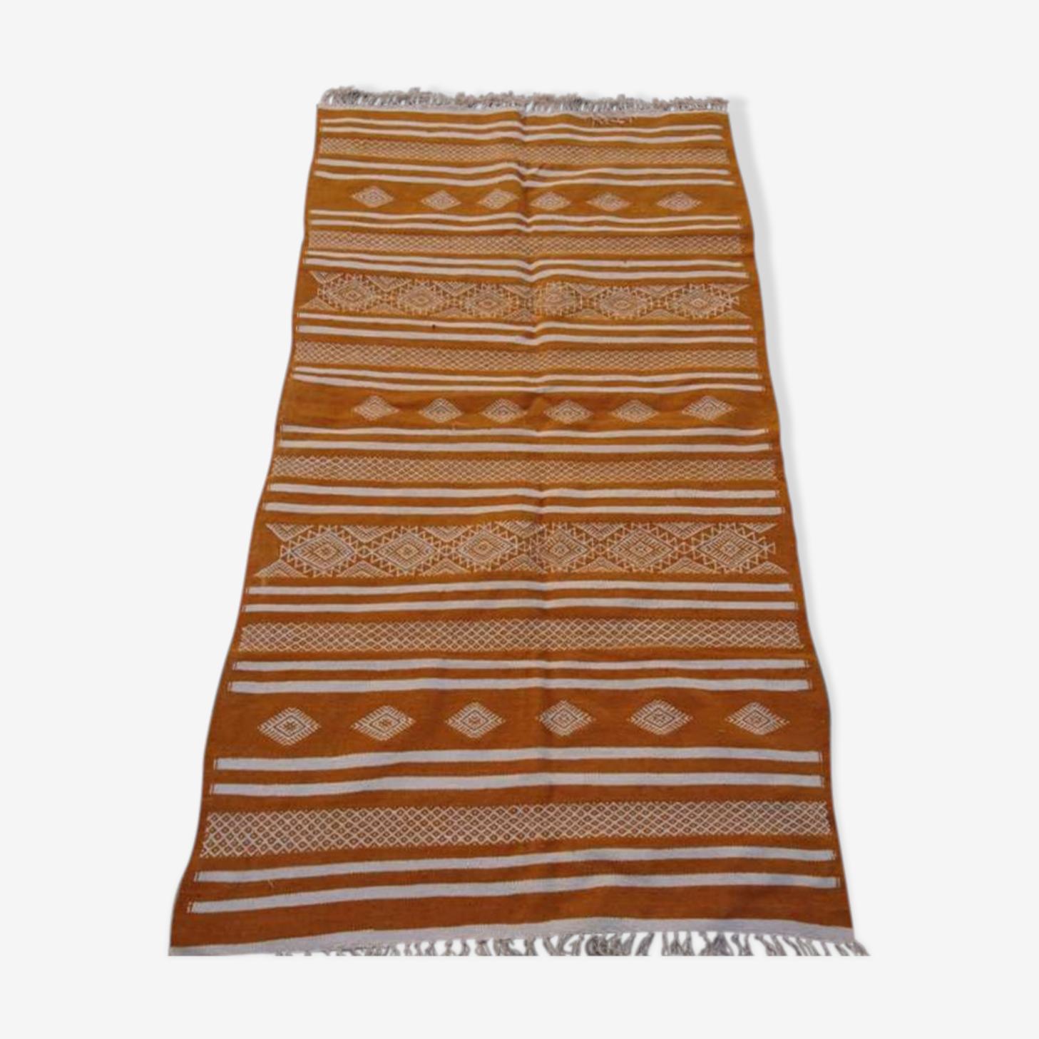 Kilim jaune fait à la main en laine 190x105cm