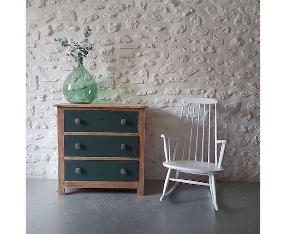 Commode vintage bois brut et vert