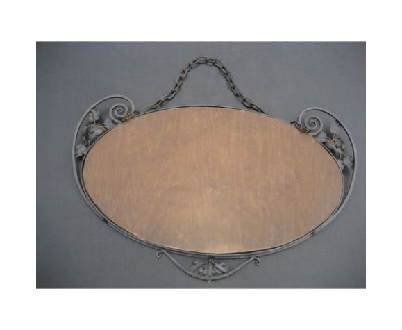 Mirror Art Deco With Cut Glass And Steel 37x67cm Frame Selency