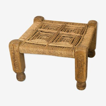 Ethnic teak and rope stool